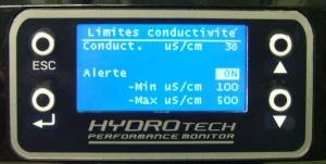 Programmation de l'alarme conductivité filtres FLUVAL G